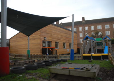 modular building and a play area